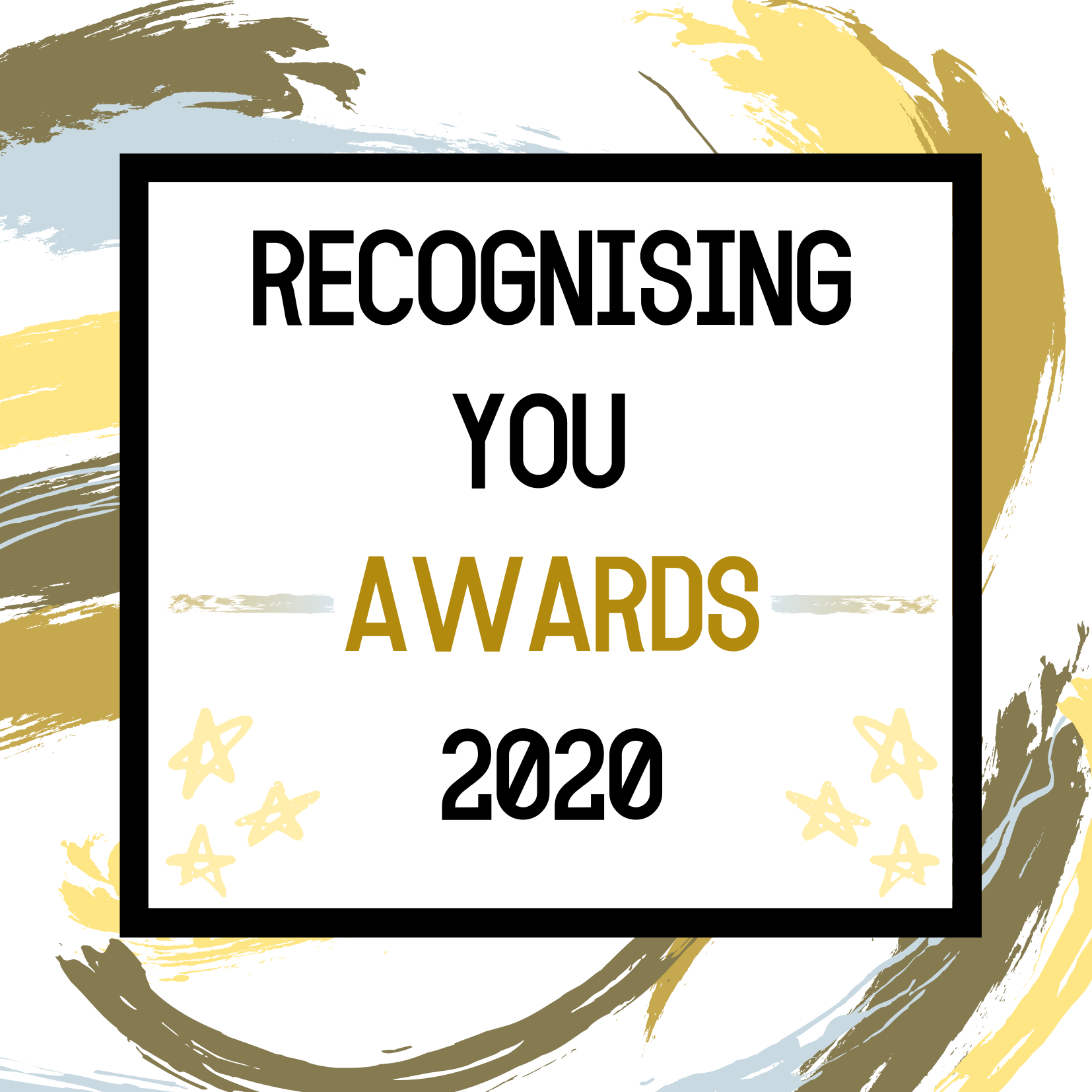This is the Recognising you awards logo. It reads Recognising You Awards 2020, with the colours of gold